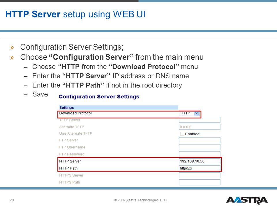 HTTP Server setup using WEB UI