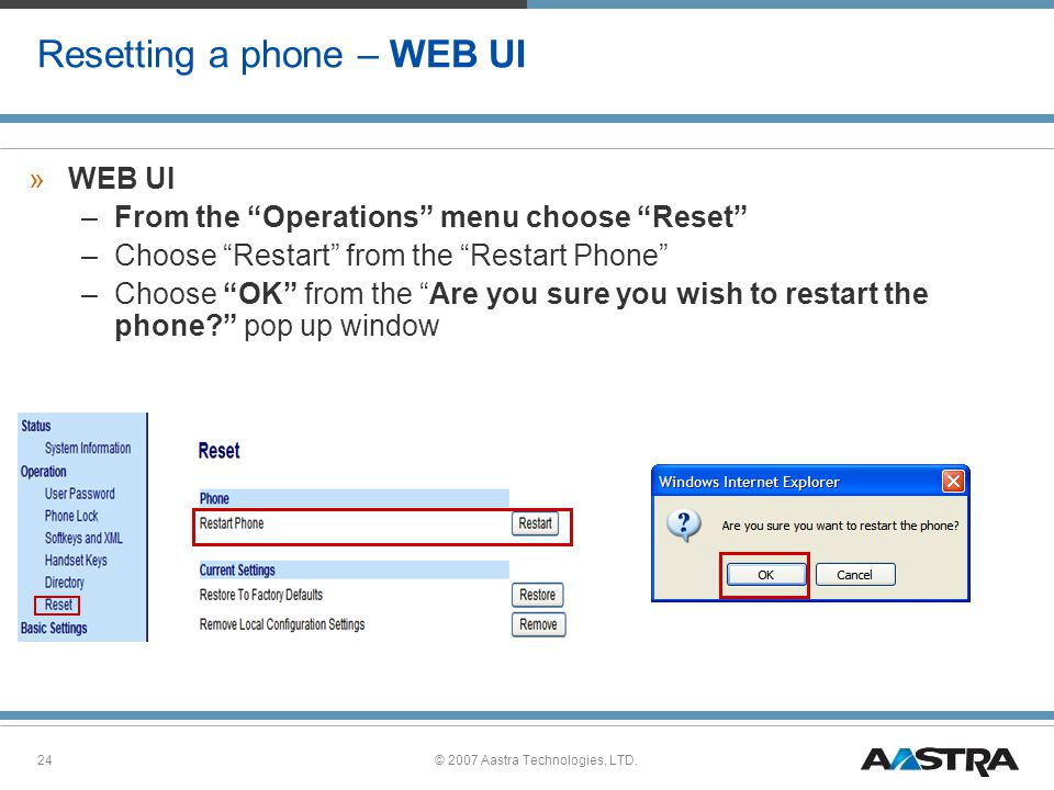 Resetting a phone – WEB UI