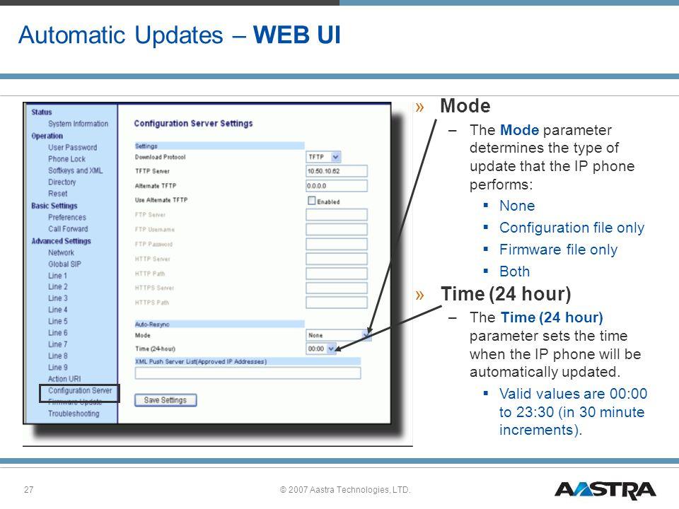 Automatic Updates – WEB UI