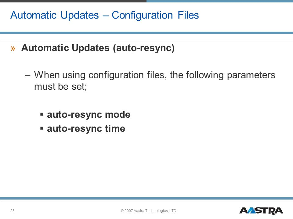 Automatic Updates – Configuration Files
