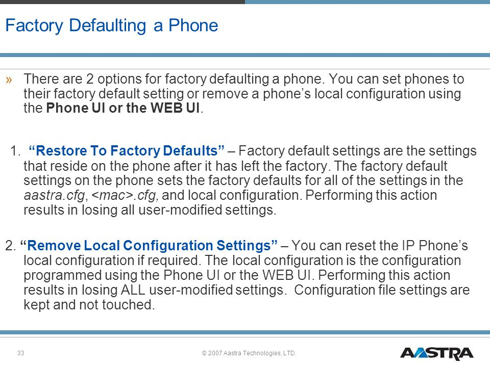Factory Defaulting a Phone