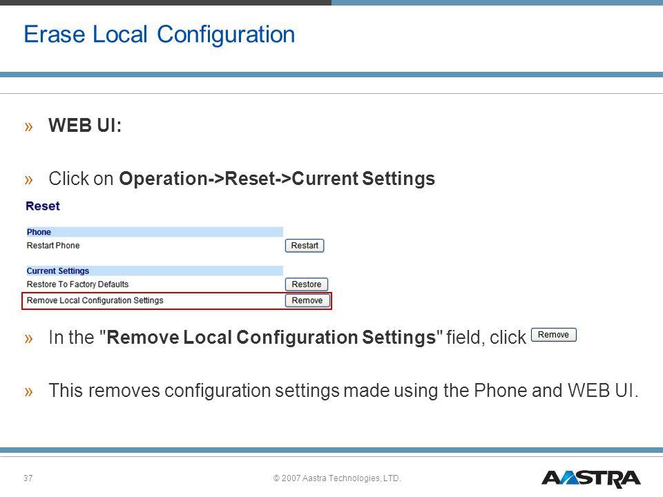 Erase Local Configuration