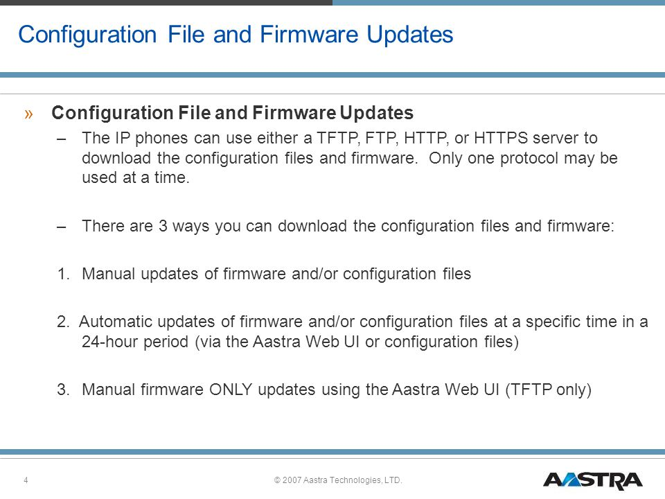Configuration File and Firmware Updates