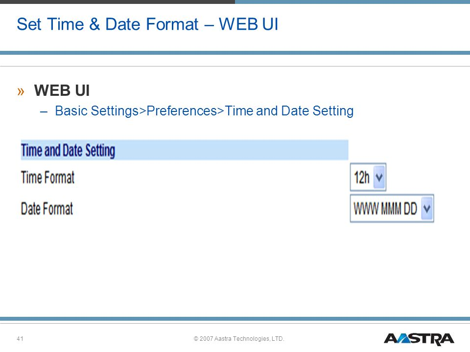 Set Time & Date Format – WEB UI