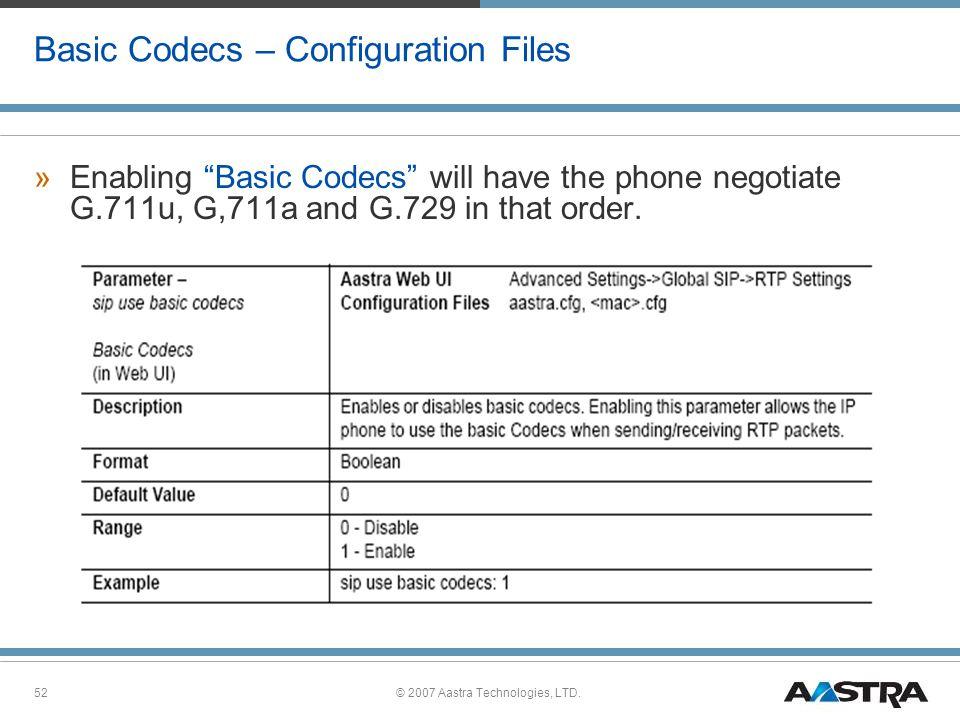 Basic Codecs – Configuration Files