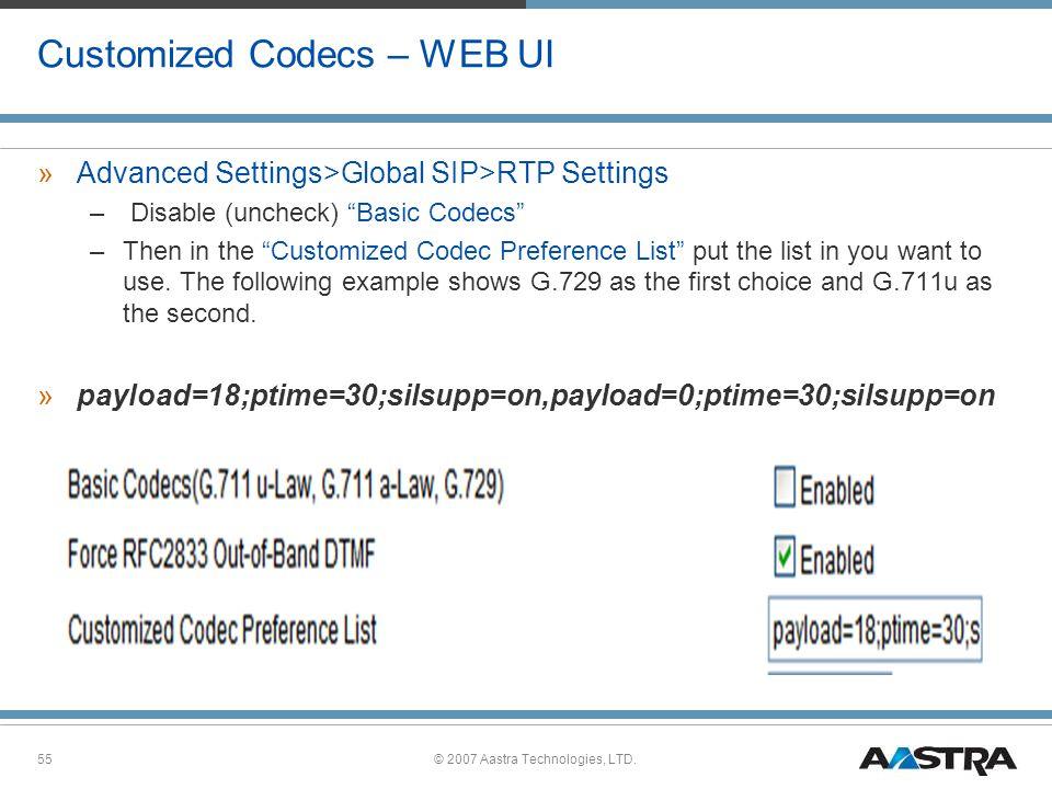 Customized Codecs – WEB UI