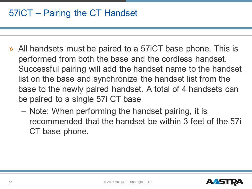 57iCT – Pairing the CT Handset