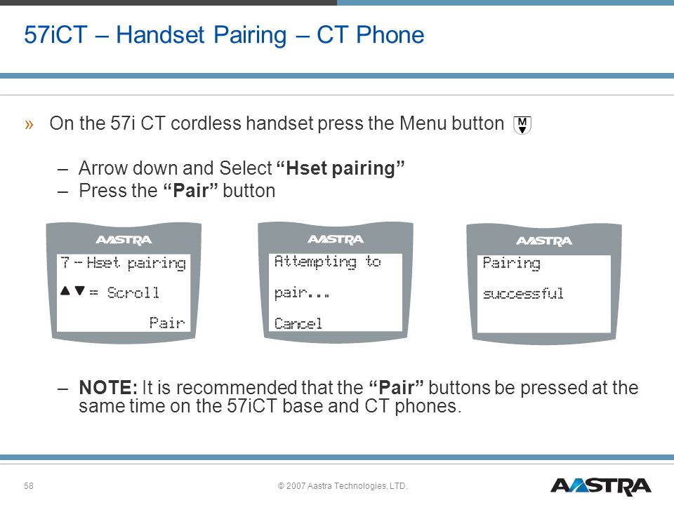 57iCT – Handset Pairing – CT Phone