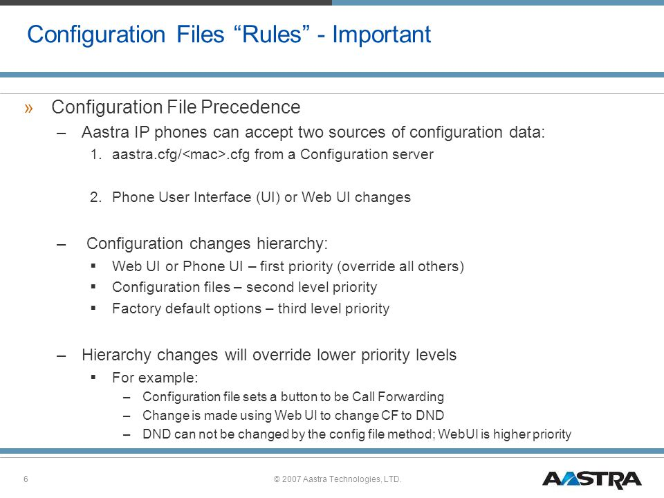 Configuration Files Rules - Important
