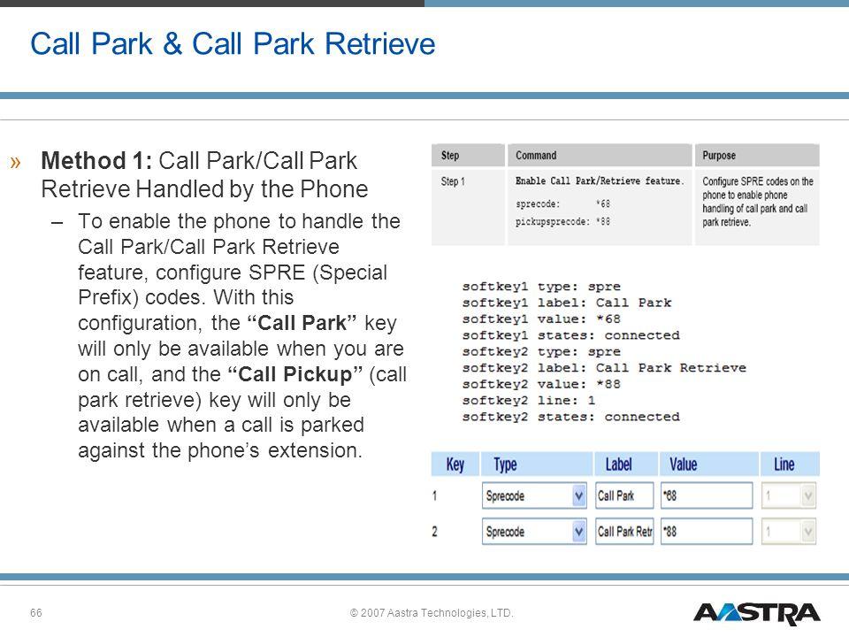 Call Park & Call Park Retrieve