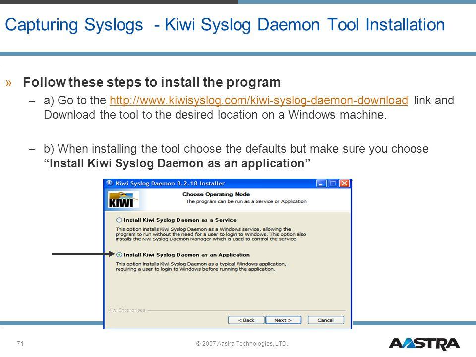 Capturing Syslogs - Kiwi Syslog Daemon Tool Installation