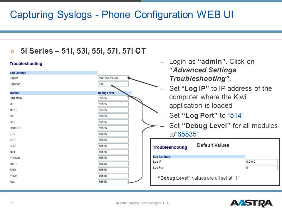 Capturing Syslogs - Phone Configuration WEB UI