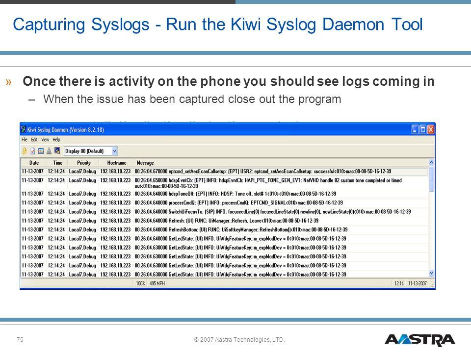 Capturing Syslogs - Run the Kiwi Syslog Daemon Tool