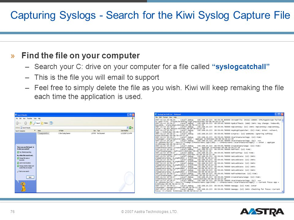 Capturing Syslogs - Search for the Kiwi Syslog Capture File