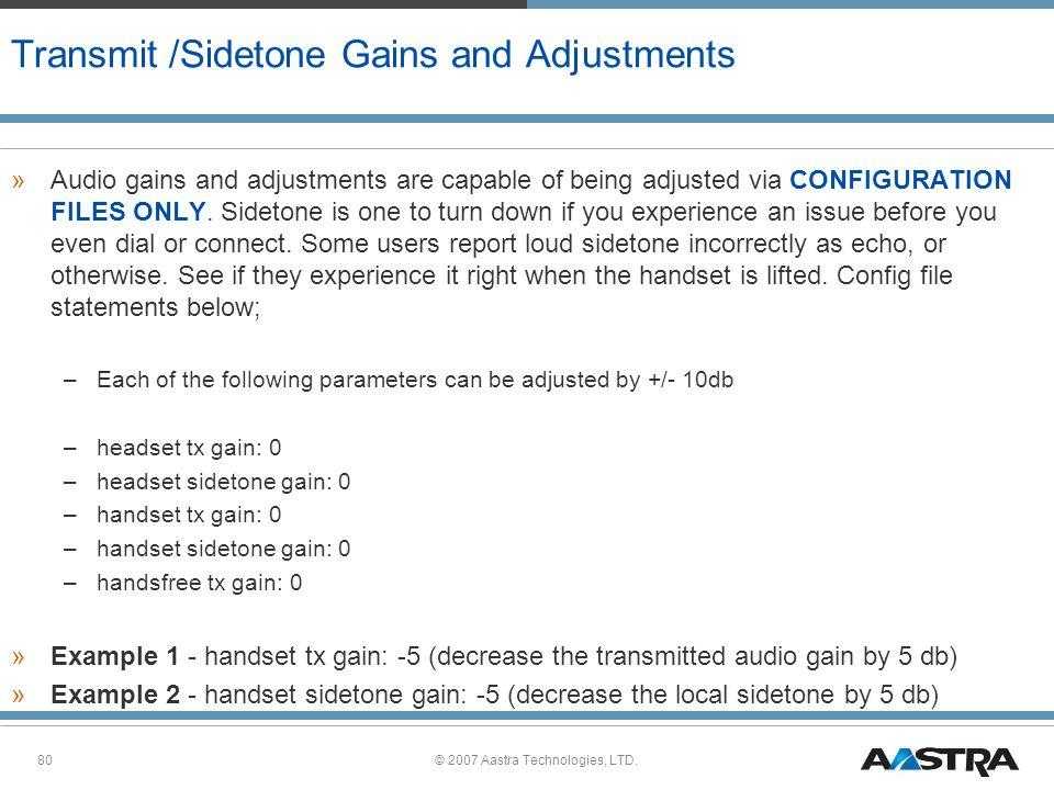 Transmit /Sidetone Gains and Adjustments
