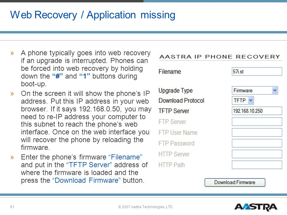 Web Recovery / Application missing