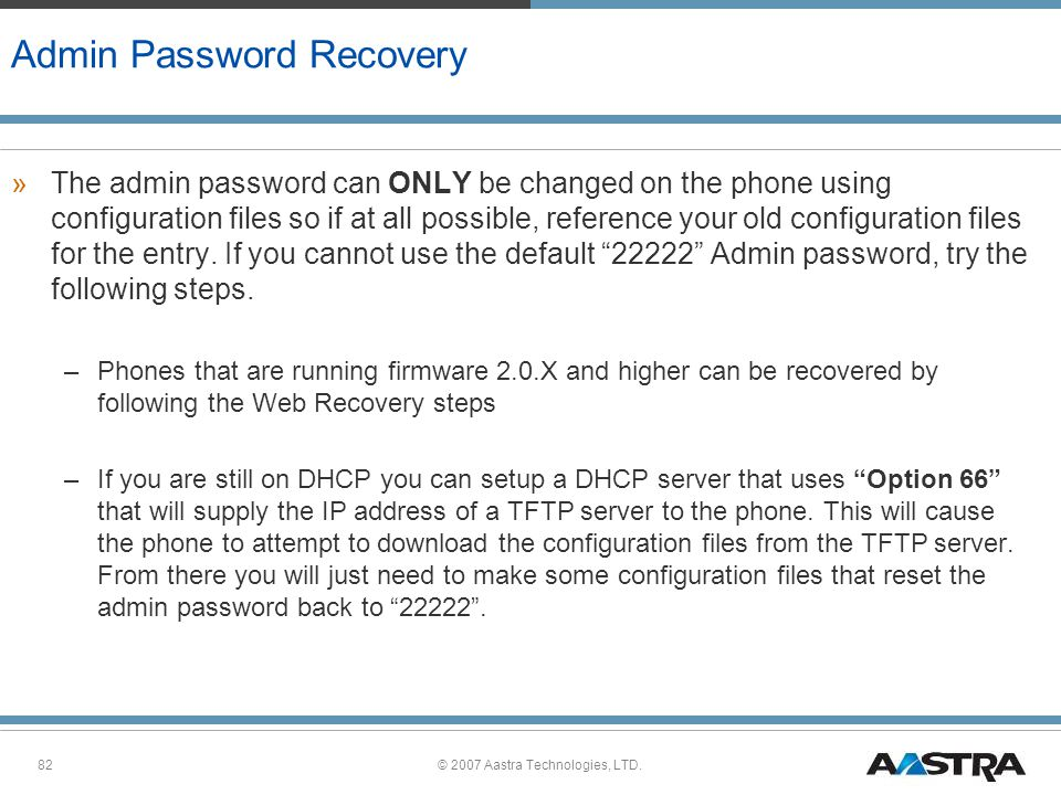 Admin Password Recovery