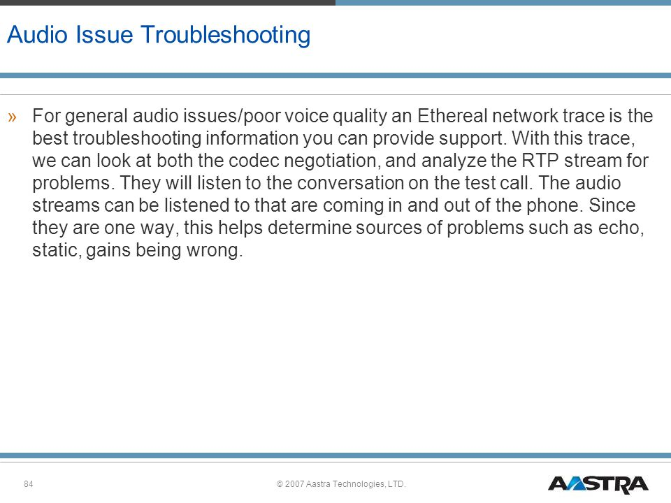 Audio Issue Troubleshooting