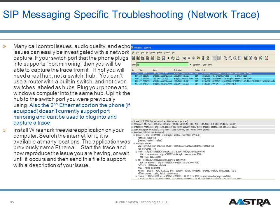 SIP Messaging Specific Troubleshooting (Network Trace)