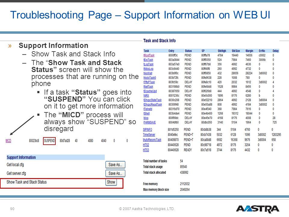 Troubleshooting Page – Support Information on WEB UI