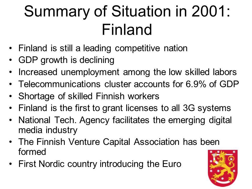 Summary of Situation in 2001: Finland