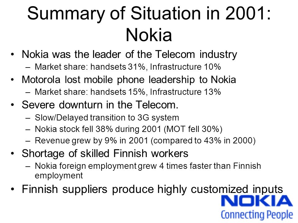 Summary of Situation in 2001: Nokia