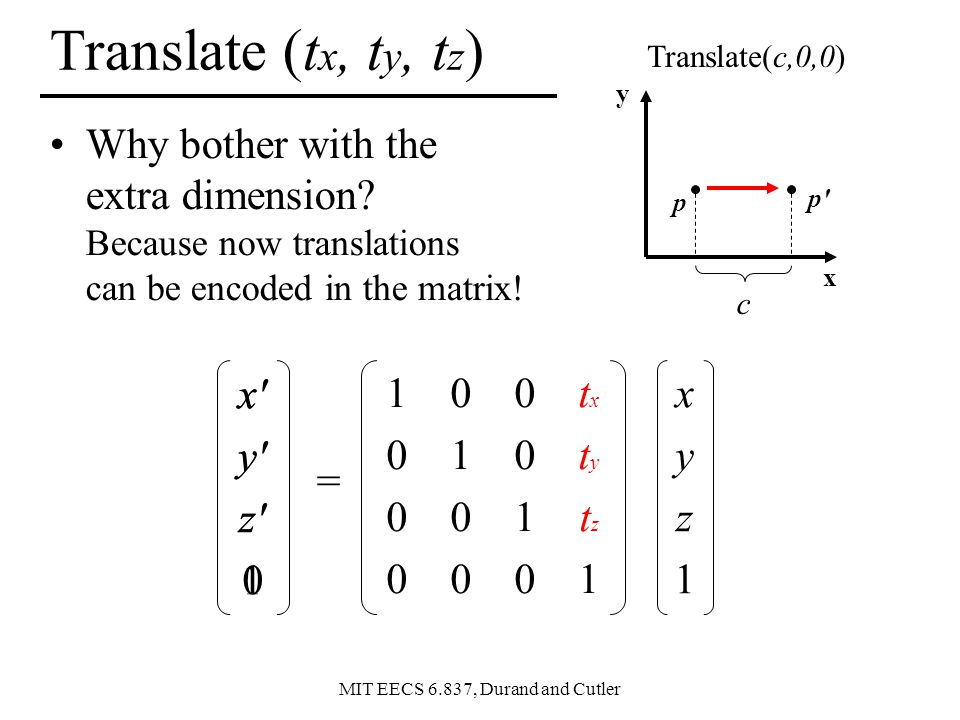Translate (tx, ty, tz) Translate(c,0,0) y. Why bother with the extra dimension Because now translations can be encoded in the matrix!