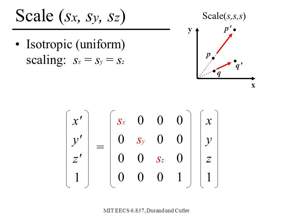Scale (sx, sy, sz) Isotropic (uniform) scaling: sx = sy = sz x y z