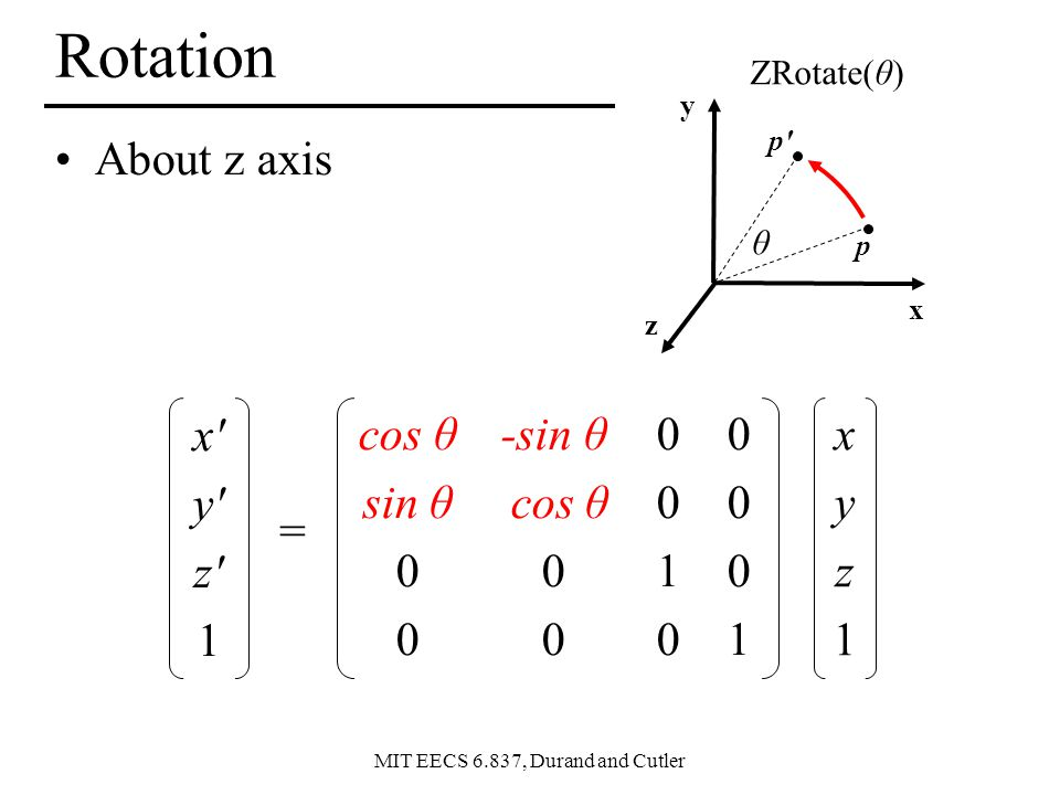 Rotation About z axis x y z 1 cos θ sin θ -sin θ cos θ 1 1 x y z 1