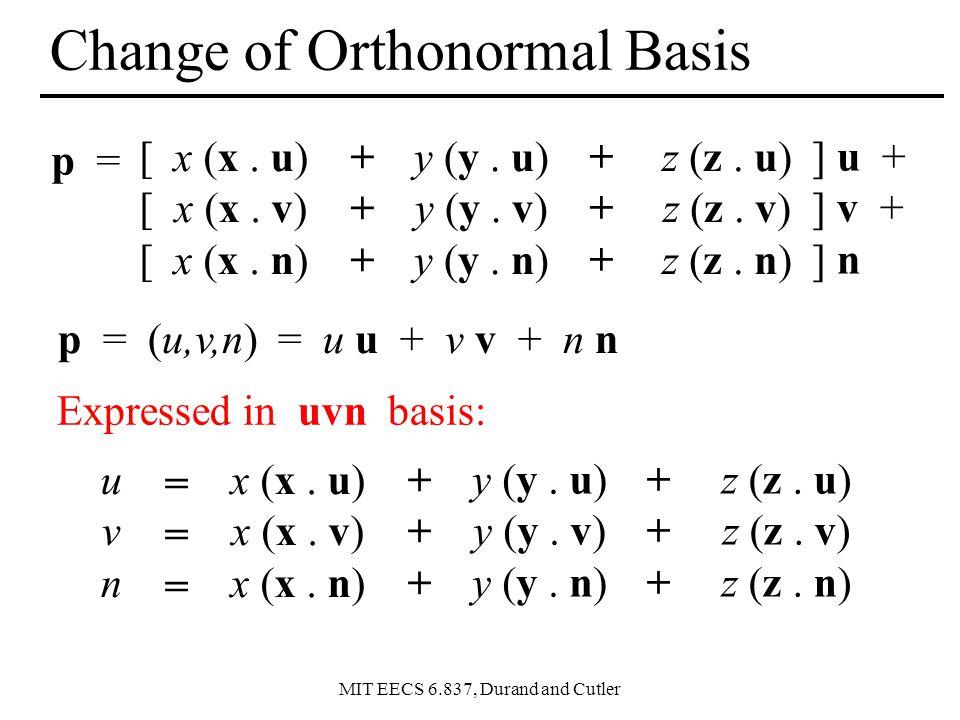 Change of Orthonormal Basis