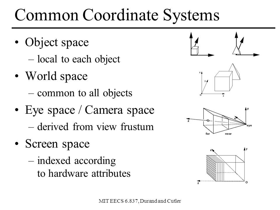 Common Coordinate Systems