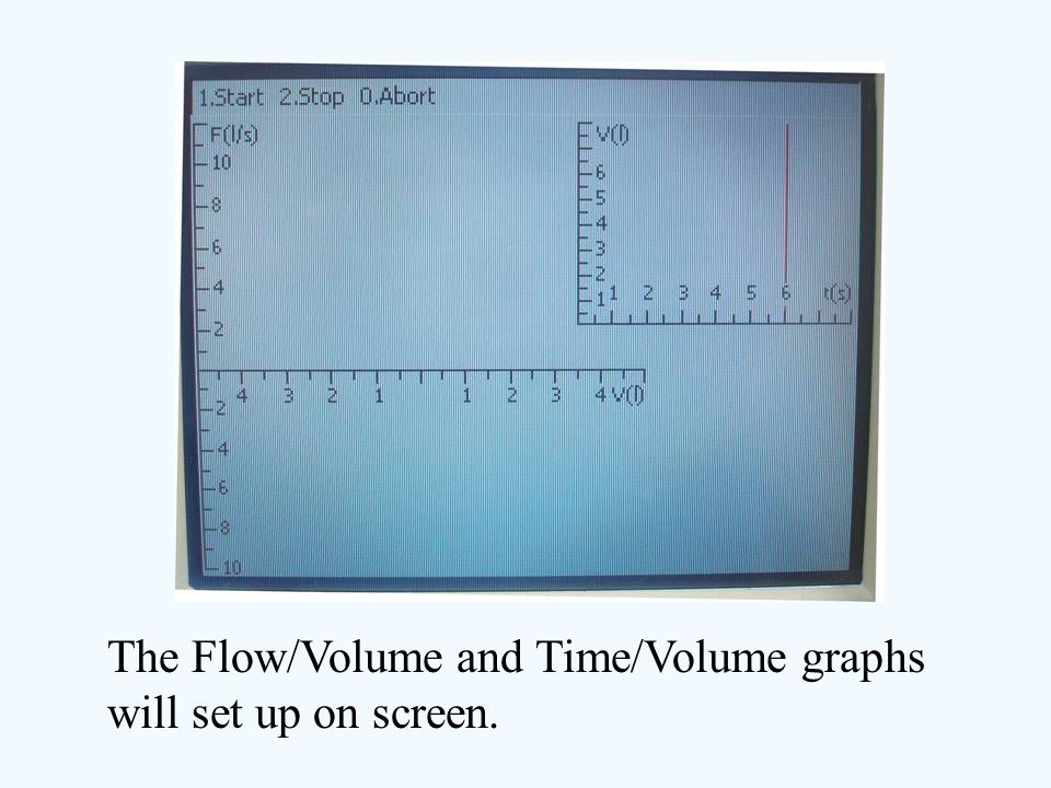 The Flow/Volume and Time/Volume graphs will set up on screen.