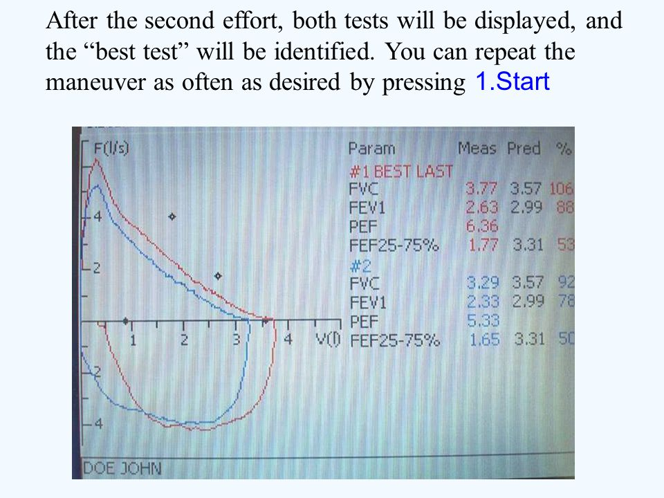 After the second effort, both tests will be displayed, and the best test will be identified.