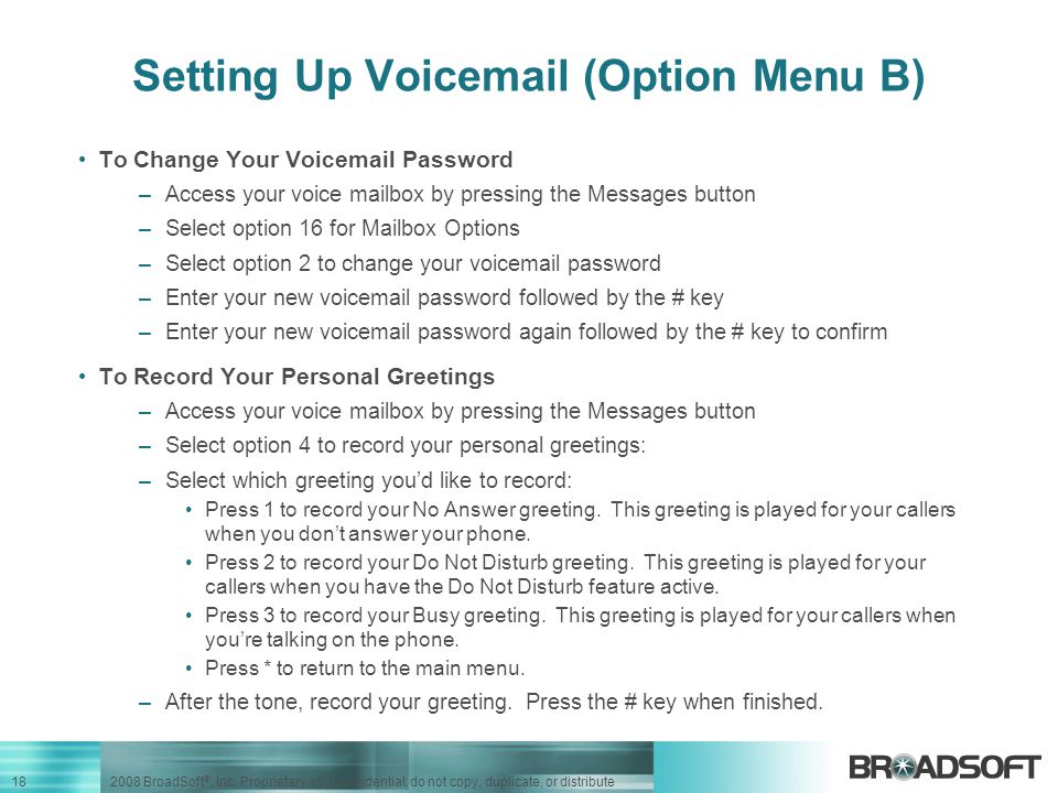 Setting Up Voicemail (Option Menu B)