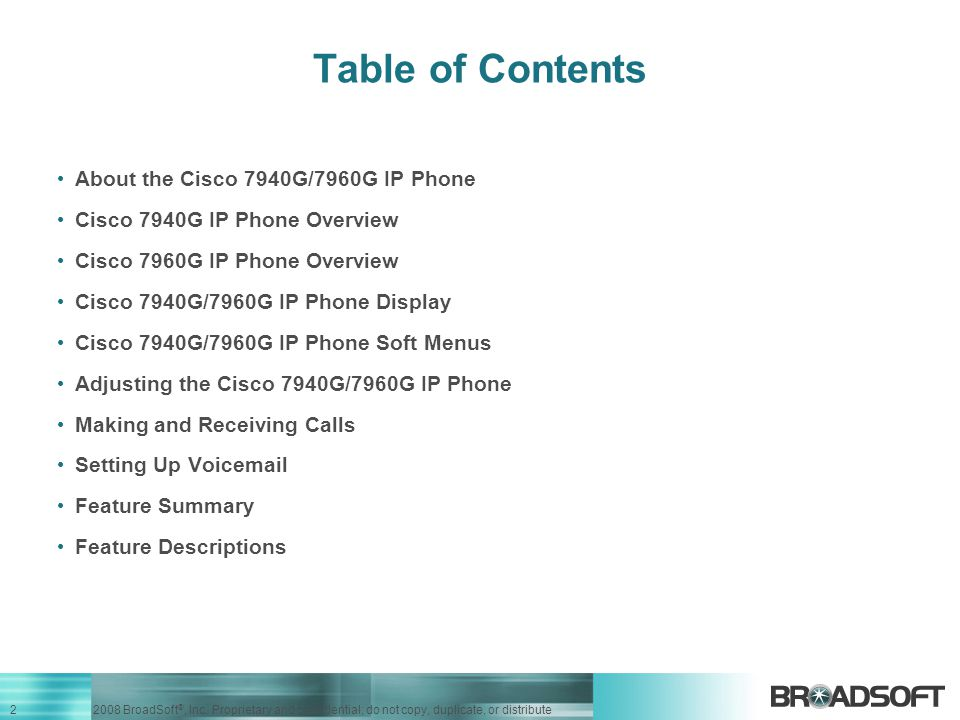 Table of Contents About the Cisco 7940G/7960G IP Phone