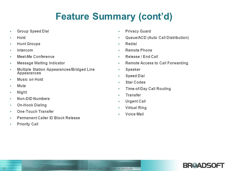 Feature Summary (cont'd)