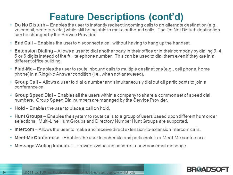 Feature Descriptions (cont'd)