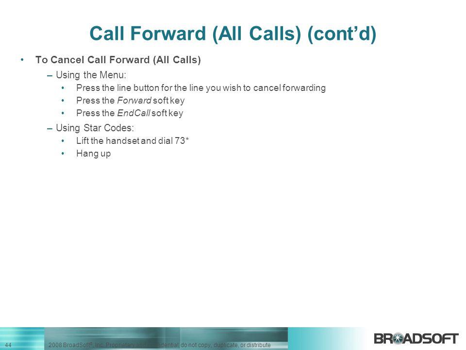 Call Forward (All Calls) (cont'd)