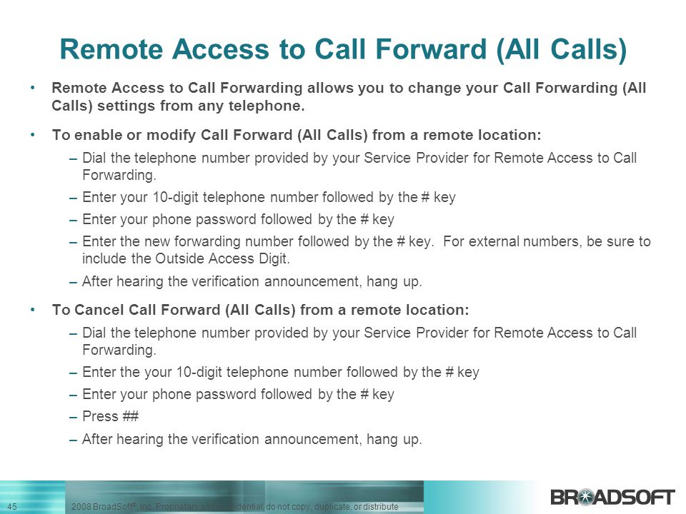 Remote Access to Call Forward (All Calls)