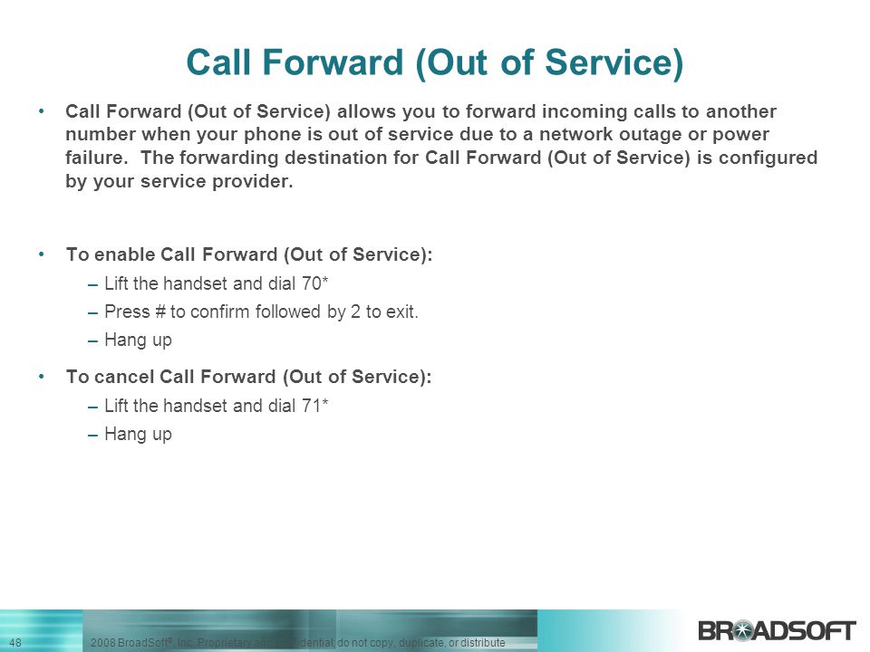 Call Forward (Out of Service)