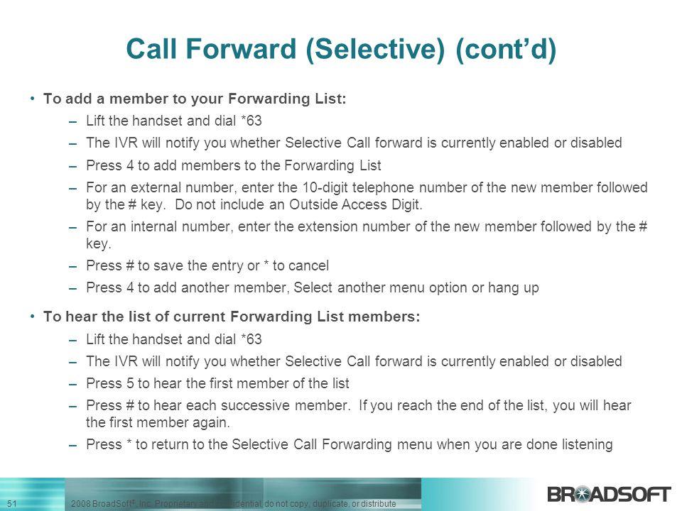 Call Forward (Selective) (cont'd)