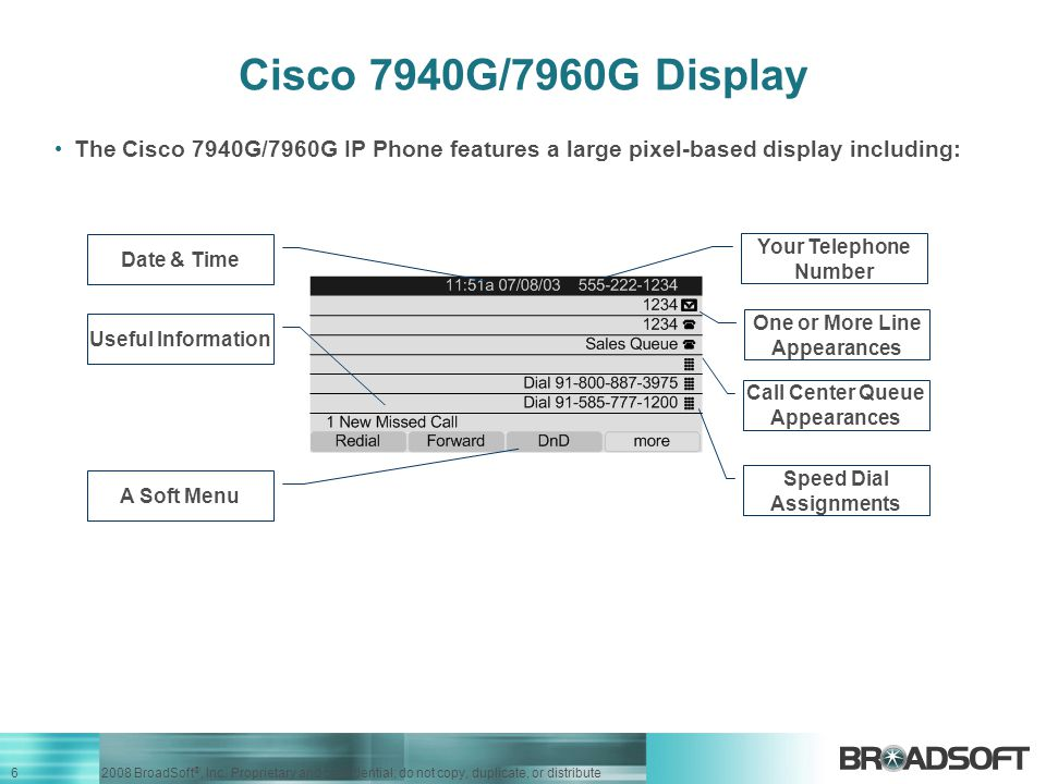 Cisco 7940G/7960G Display The Cisco 7940G/7960G IP Phone features a large pixel-based display including: