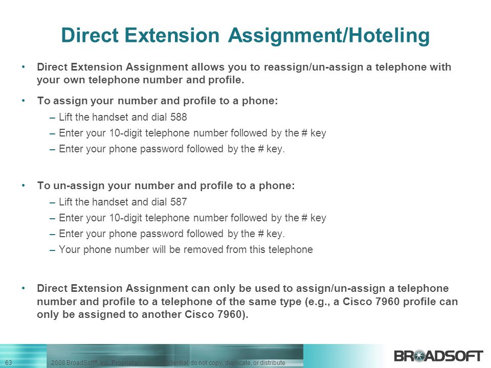 Direct Extension Assignment/Hoteling