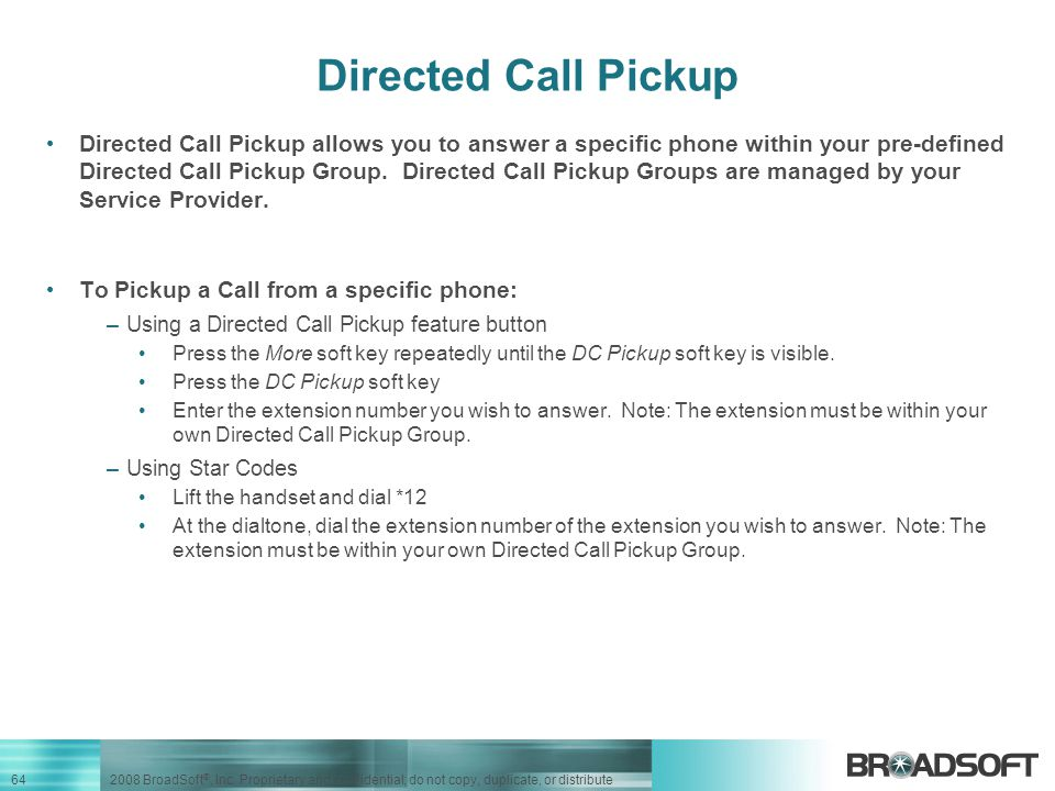 Directed Call Pickup