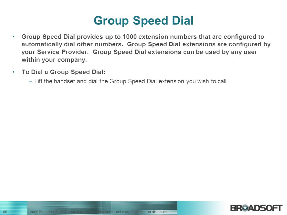 Group Speed Dial