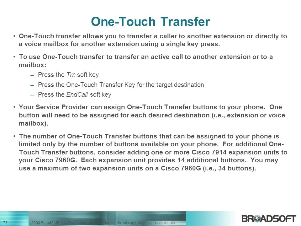 One-Touch Transfer
