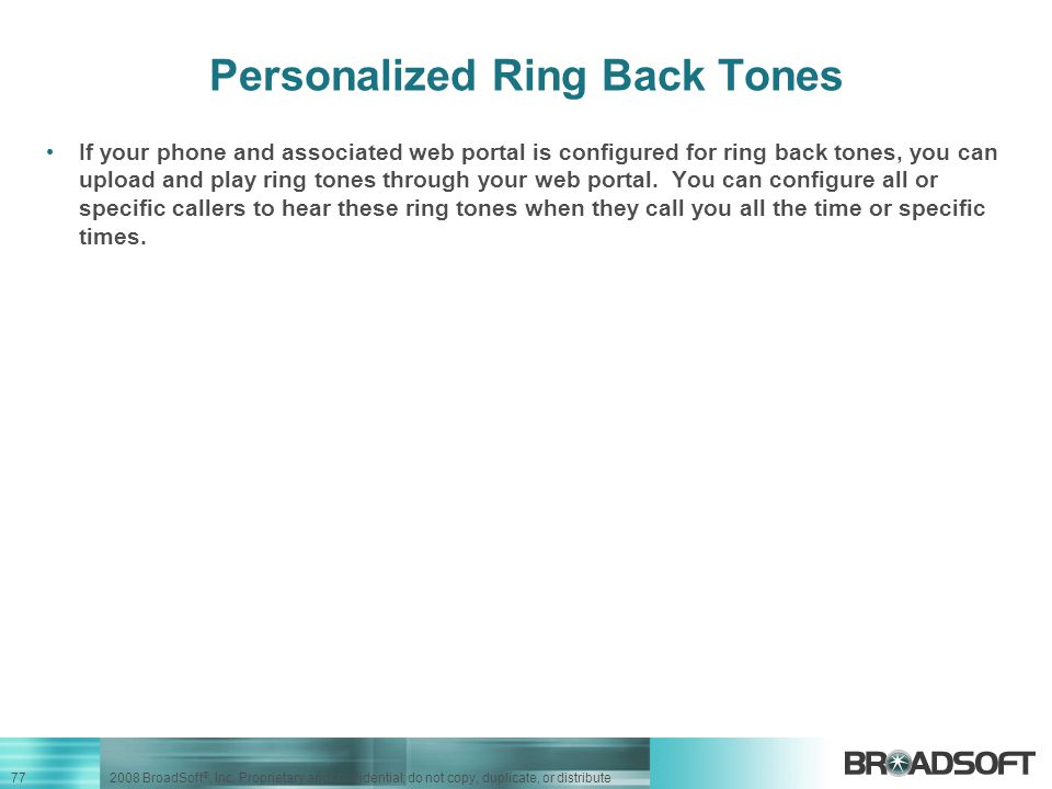 Personalized Ring Back Tones