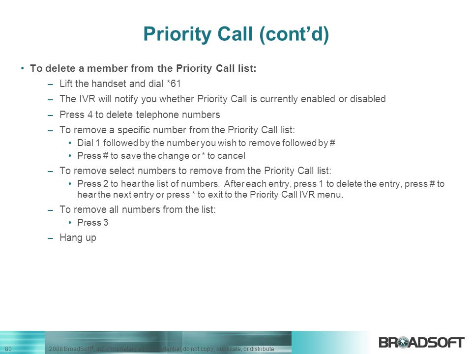 Priority Call (cont'd)