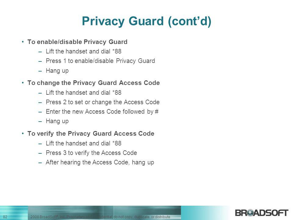 Privacy Guard (cont'd)