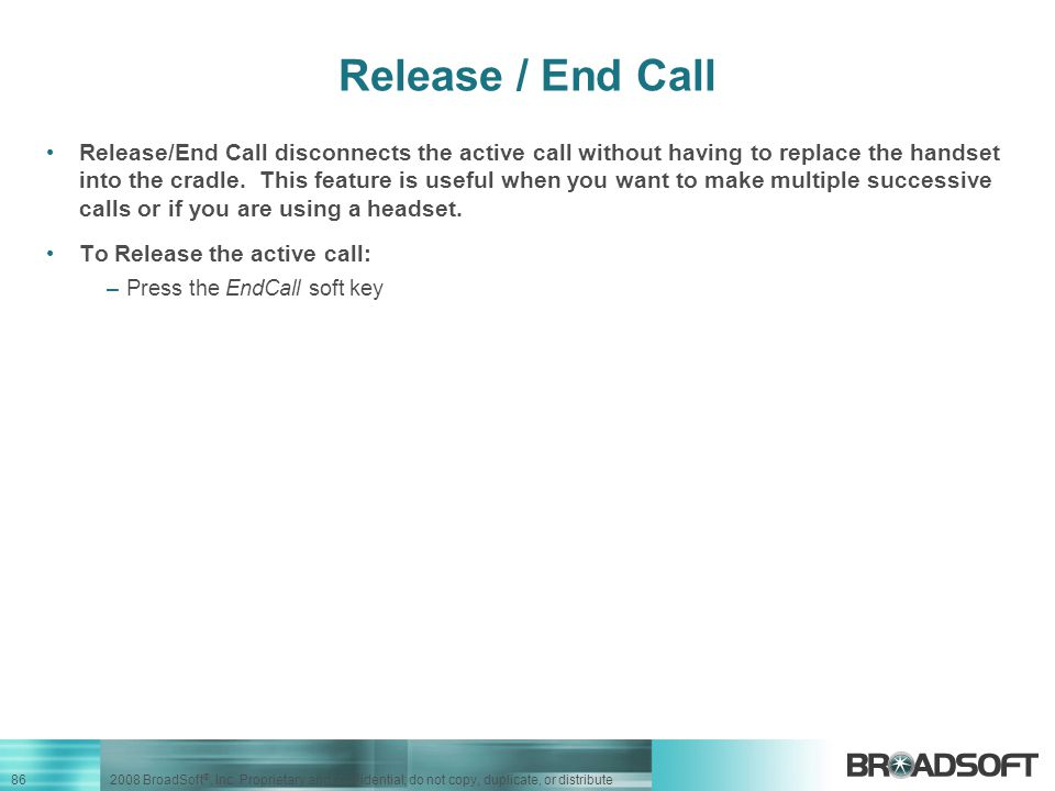 Release / End Call